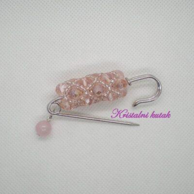 Broš B001RKV roze kvarc