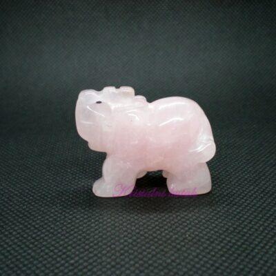 Figurica slon FU001RKV roze kvarc